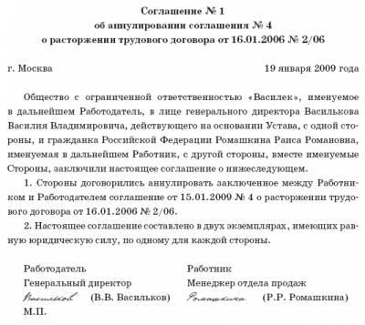 трудовой договор 2006 года образец